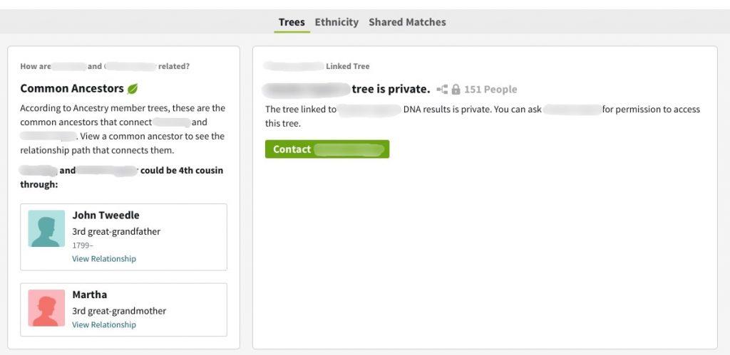 AncestryDNA DNA match view